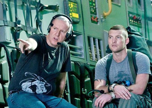 James Cameron (izquierda) durante el rodaje de 'Avatar'