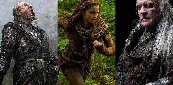 Ray Winstone, Emma Watson y Anthony Hopkins en 'Noah'