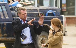 Christopher Nolan y Jessica Chastain en el rodaje de 'Interstellar'