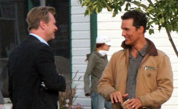 Christopher Nolan y Matthew McConaughey en el rodaje de 'Interstellar'