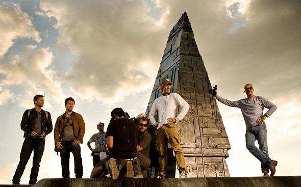 Michael Bay y Mark Wahlberg en el rodaje de 'Transformers: La era de la extinción'