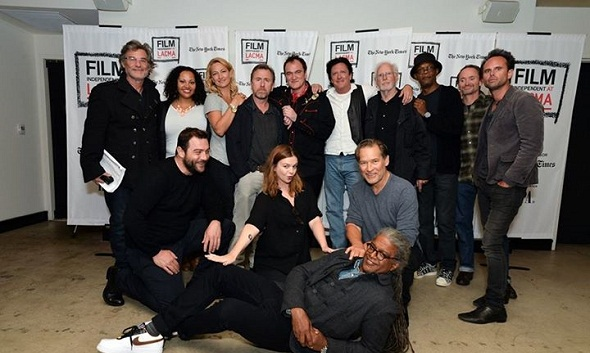 Tarantino rodeado de sus actores para 'The hateful eight'