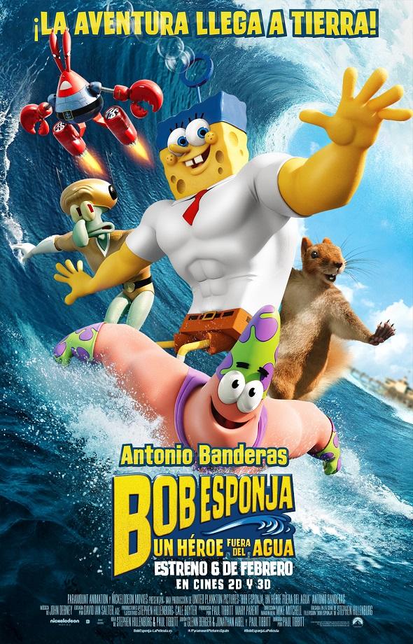 Bob Esponja.  Un héroe fuera del agua. Póster
