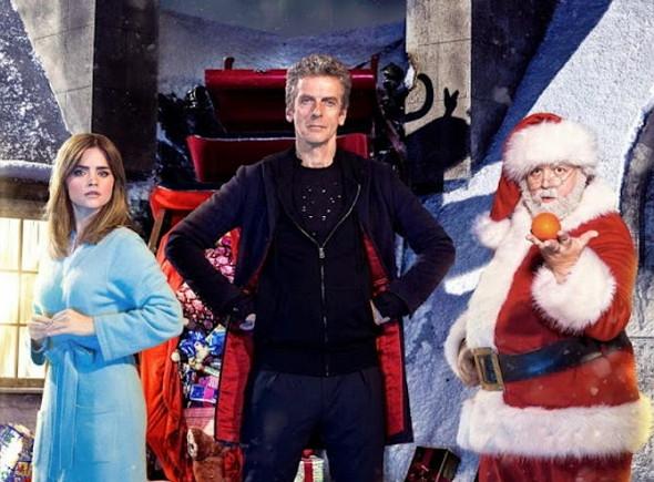 Jenna Coleman, Peter Capaldi y Nick Frost en Doctor Who Last Christmas