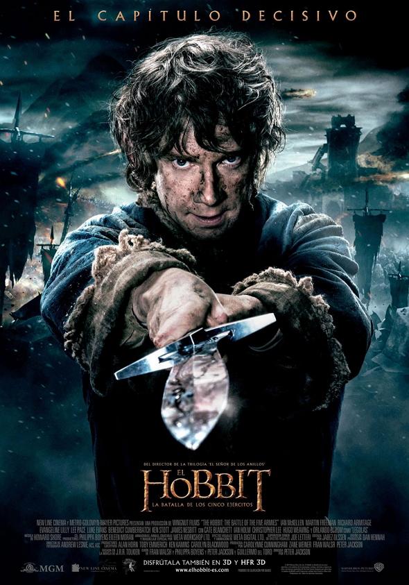 Póster en español de El Hobbit La batalla de los cinco ejércitos