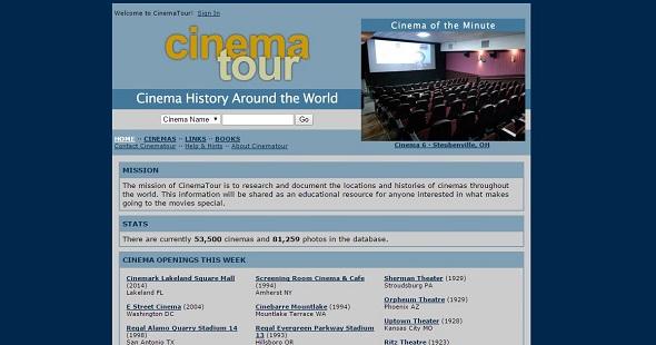 Cinema tour. Base de datos de salas de cine