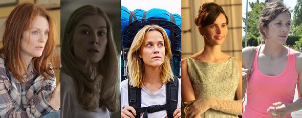 Mejor actriz: Julianne Moore, Rosamund Pike, Reese Witherspoon, Felicity Jones y Marion Cotillard