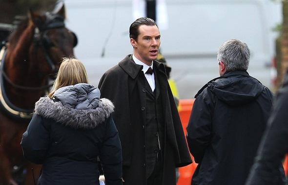 Cumberbatch durante el rodaje del especial navideño
