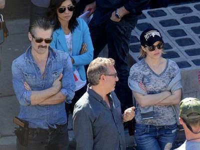 Colin Farrell y Rachel McAdams en el rodaje de 'True detective'