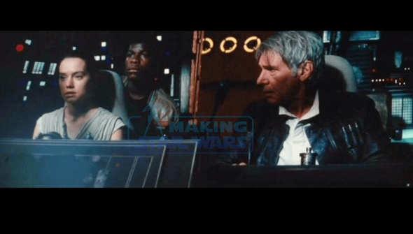 Solo con Rey y Finn  en el Halcón Milenario