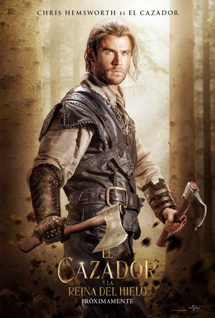 Chris Hemsworth y su póster en 'El cazador y la reina de hielo'