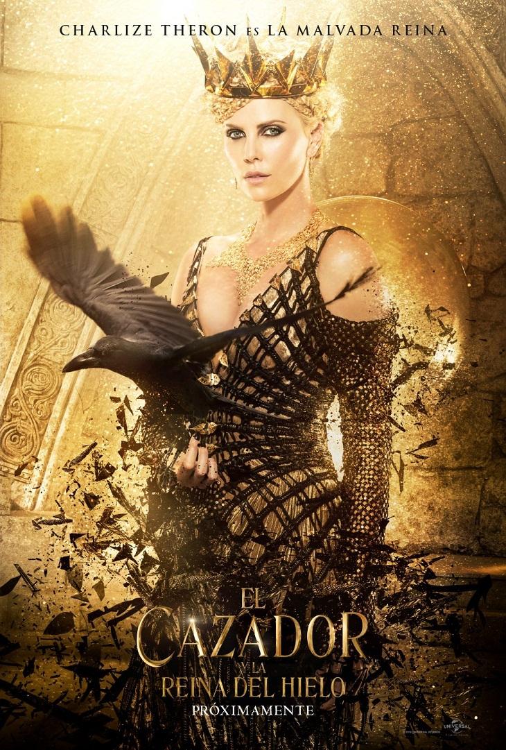 Charlize Theron y su póster en 'El cazador y la reina de hielo'