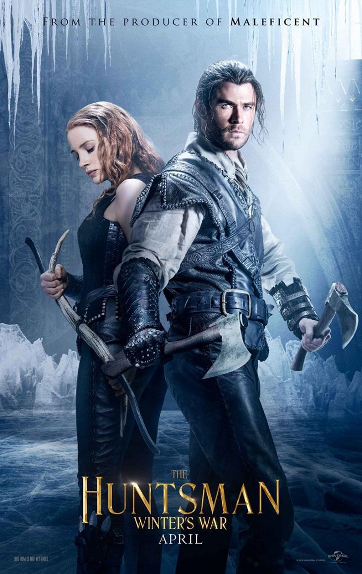 Jessica Chastain y Chris Hemsworth en el póster de 'El cazador y la reina de hielo'