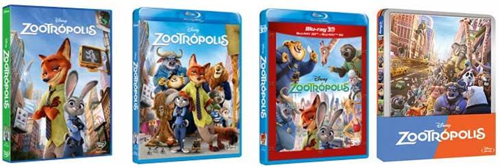 Carátulas d e'Zootrópolis', ya en DVD y en Alta definición