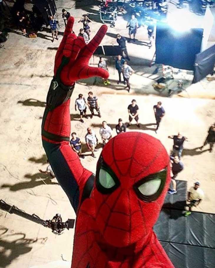 Tom Holland en el rodaje de Spider-Man: Homecoming