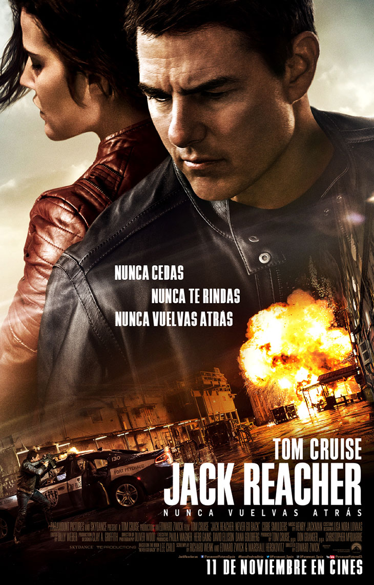 Póster en español de 'Jack Reacher: nunca vuelvas atrás'