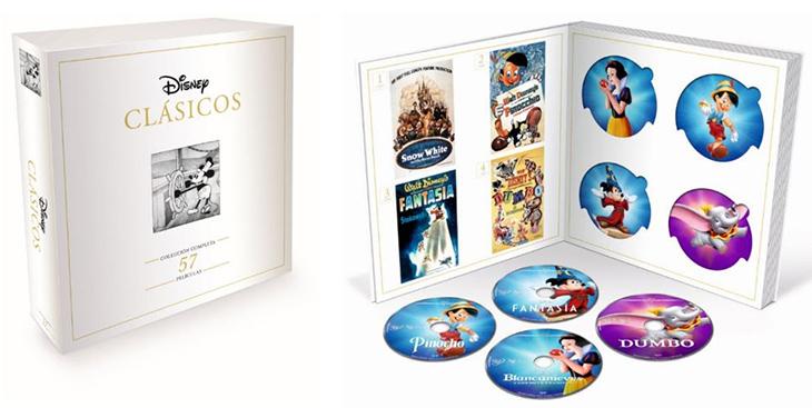 Una imagen del pack con los 57 clásicos Disney en DVD